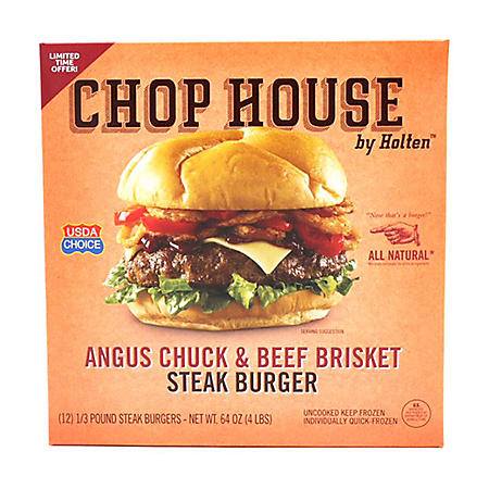 Chop House by Holten Angus Chuck and Beef Brisket Steak Burger (12 ct.)