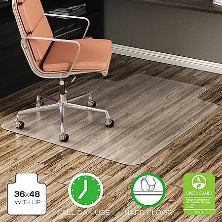 Deflecto EconoMat All Day Use Chair Mat for Hard Floor/Low Pile Carpet, 36 x 48