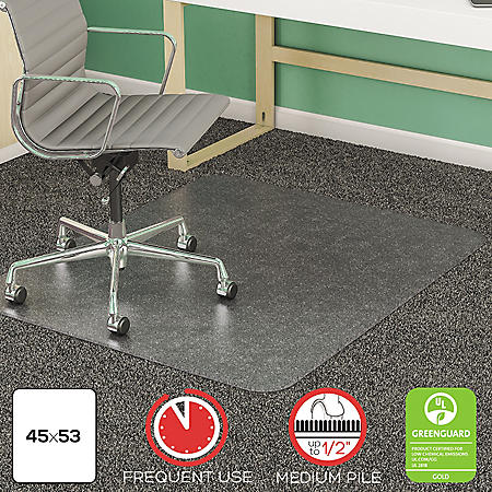 "Deflect-O SuperMat Studded Beveled Mat for Medium Pile Carpet, 45""W x 53""L, Clear"