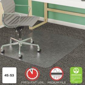 Deflect-O - SuperMat Studded Beveled Mat for Medium Pile Carpet, 45w x 53h, Clear