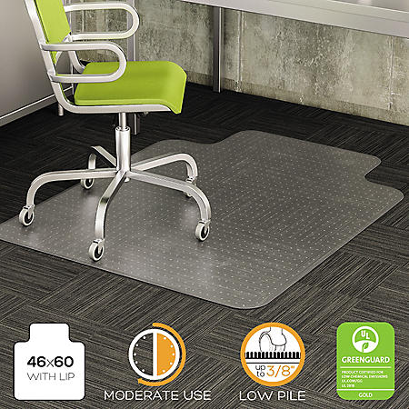 "Deflect-O DuraMat 46"" x 60"" Chair Mat for Low Pile Carpet, Clear"