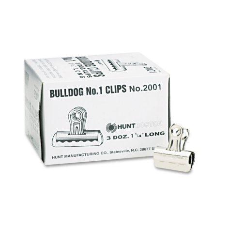 "X-ACTO - Bulldog Clips, Steel, 7/16"" Capacity, 1-1/4""w, Nickel-Plated -  36/Box"