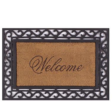 framed welcome door mat 20 x 36
