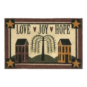 """Love, Joy, Hope"" Printed Koko Door Mat , 18 x 30"