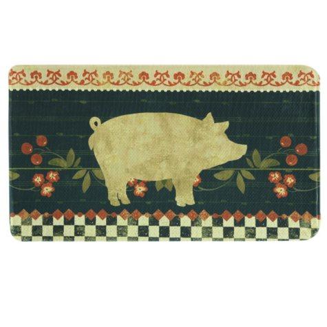 "Printed Memory Foam Oversized Mat, Retro Pig (22"" x 35"")"