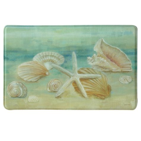"Bacova Printed Memory Foam Horizon Shells Oversized Mat, 22"" x 35"""