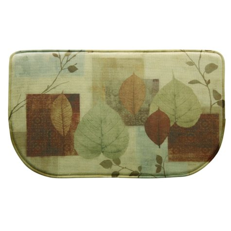 "Bacova Printed Memory Foam Leaf Matrix Slice Mat, 18"" x 30"""