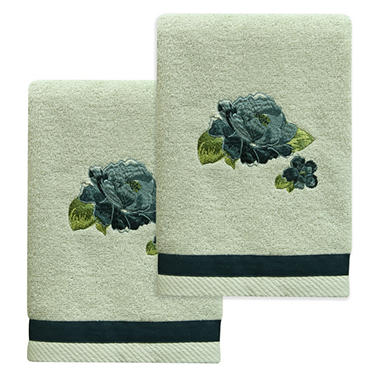 Bacova Blue Floral Hand Towel Set, 2-piece