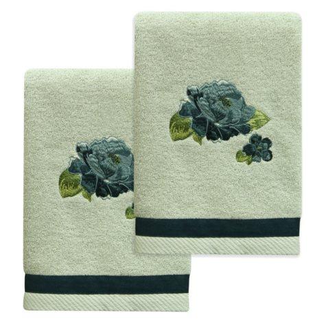 Bacova Blue Floral Hand Towel Set, 2-piece