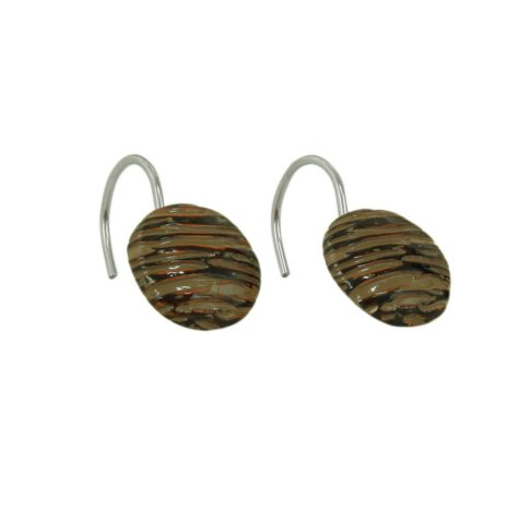 Brown Stoneware Shower Curtain Hooks Set