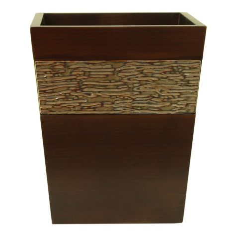 Brown Stoneware Wooden Wastebasket