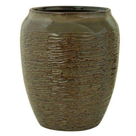Bacova Brown Stoneware Wastebasket