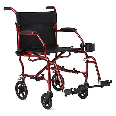 Ultra Lightweight Transport Wheelchair, Burgundy