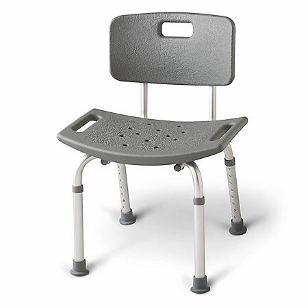 Medline Aluminum Bath Bench with Back, Gray