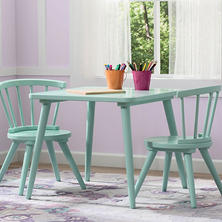 Delta Children Windsor Table and Chairs, 3-Piece Set, Aqua