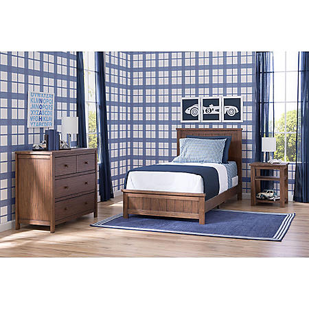Delta Children Homestead Room-in-a-Box 3-Piece Bedroom Furniture Set, Rustic Oak