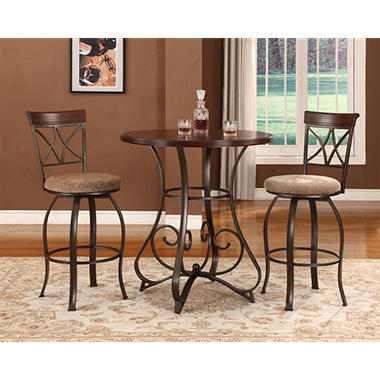 Hamilton Pub Table U0026 Swivel Bar Stools 3 Piece Set