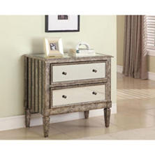 Mirrored Drawer Console Table, Antiqued Finish
