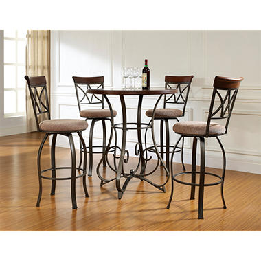 hamilton pub table u0026 swivel bar stools 5piece set
