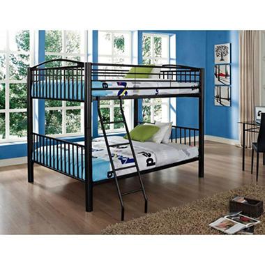 heavy metal full over full bunk bed black