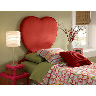 Heart Shaped Twin Size Headboard, Red