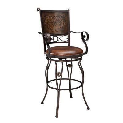 Big U0026 Tall Copper Stamped Back Bar Stool With Arms (Assorted Sizes)