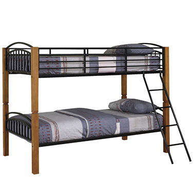Country Pine And Matte Black Twin Twin Bunk Bed Sam S Club