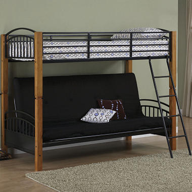 Twin Futon Bunk Bed Country Pine Matte Black Sam S Club