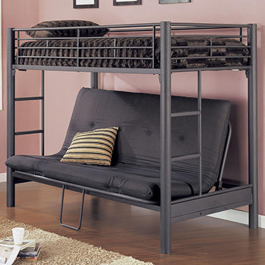 Metal Twin Futon Bunk Bed Matte Black Textured