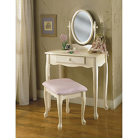 Off-White Vanity with Mirror & Bench Set
