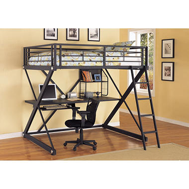 Z-Bedroom Full Loft Study Bunk Bed - Black