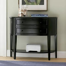 Demilune Console Table, Antique Black