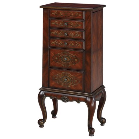Masterpiece Faux Cherry Parquet Jewelry Armoire