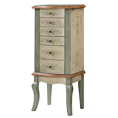 English Garden Hand Painted Jewelry Armoire