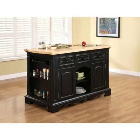 Pennfield Kitchen Island, Black