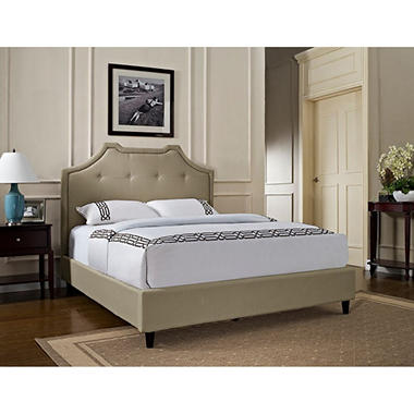Crown Button Tufted Upholstered Bed - Tan
