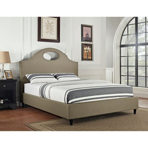 Key Hole Upholstered Bed - Tan