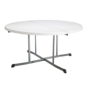 "Lifetime 60"" Fold-In-Half Round Commercial Grade Table, White Granite"