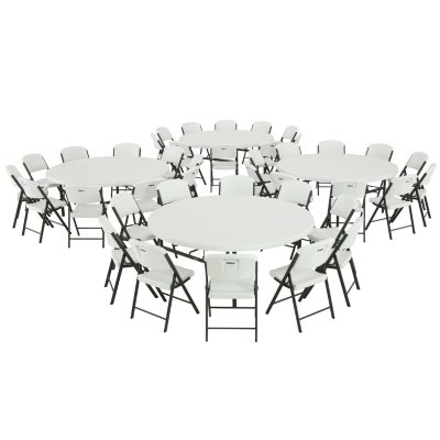 Lifetime ComboFour 72 Round Commercial Grade Folding Tables and