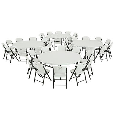 Lifetime Combo 4 72 Round Commercial Grade Folding Tables And