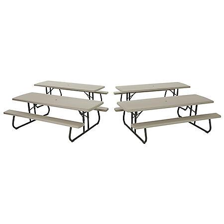 Lifetime 8 Folding Picnic Table Putty 4 Pack Sam S Club