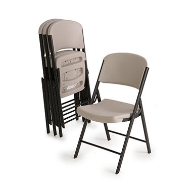 OFFLINE Lifetime Commercial Grade Contoured Folding Chair, Putty - 4 pack