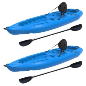 Lifetime 8' Adult Kayak Boat with Paddle & Backrest - Blue - 2 pk.