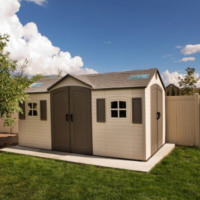 Lifetime Dual-Entry 8 Feet x 15 Feet Outdoor Storage Shed with Two (2) Tall 6 Feet 4 inch Door Openings