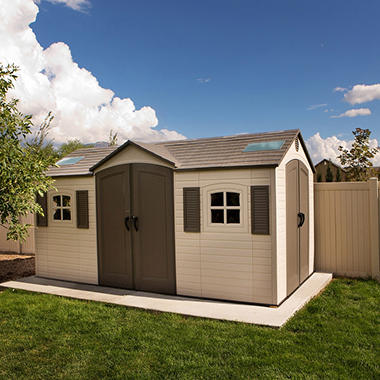 Lifetime 15u0027 X 8u0027 Dual Entry Outdoor Storage Shed