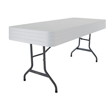 Lifetime 6' Commercial Grade Stacking Folding Table, White Granite - 4 pack