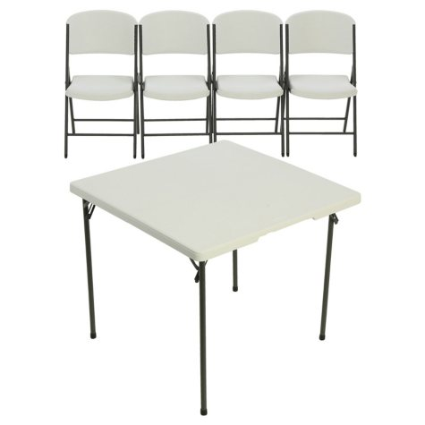 "Lifetime 34"" Card Table and (4) Chair Combo, White"