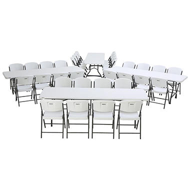 Lifetime Combo   (4) 8u0027 Commercial Grade Nesting Folding Tables, (32