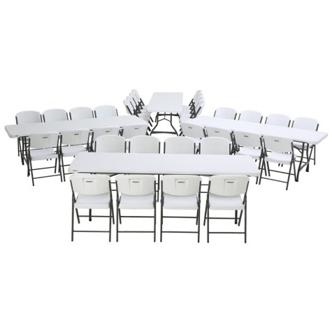 Lifetime Combo - (4) 8' Commercial Grade Nesting Folding Tables, (32) Folding Chairs, White Granite, Choose a Color