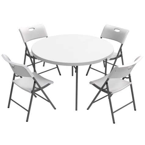 """Lifetime Combo - 48"""" Round Fold-In-Half Commercial Grade Table and (4) Folding Chairs, White Granite"""